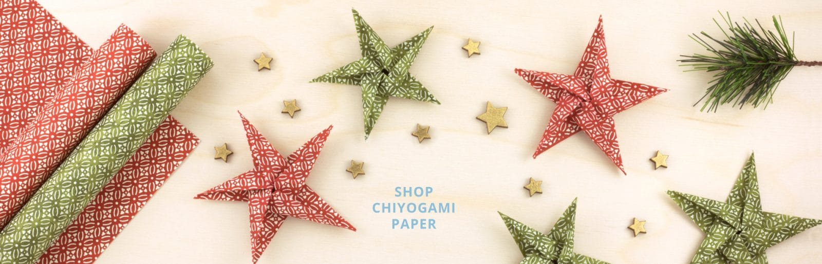 Chiyogami Paper with Origami Stars Christmas