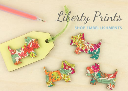 liberty print wooden embellishments