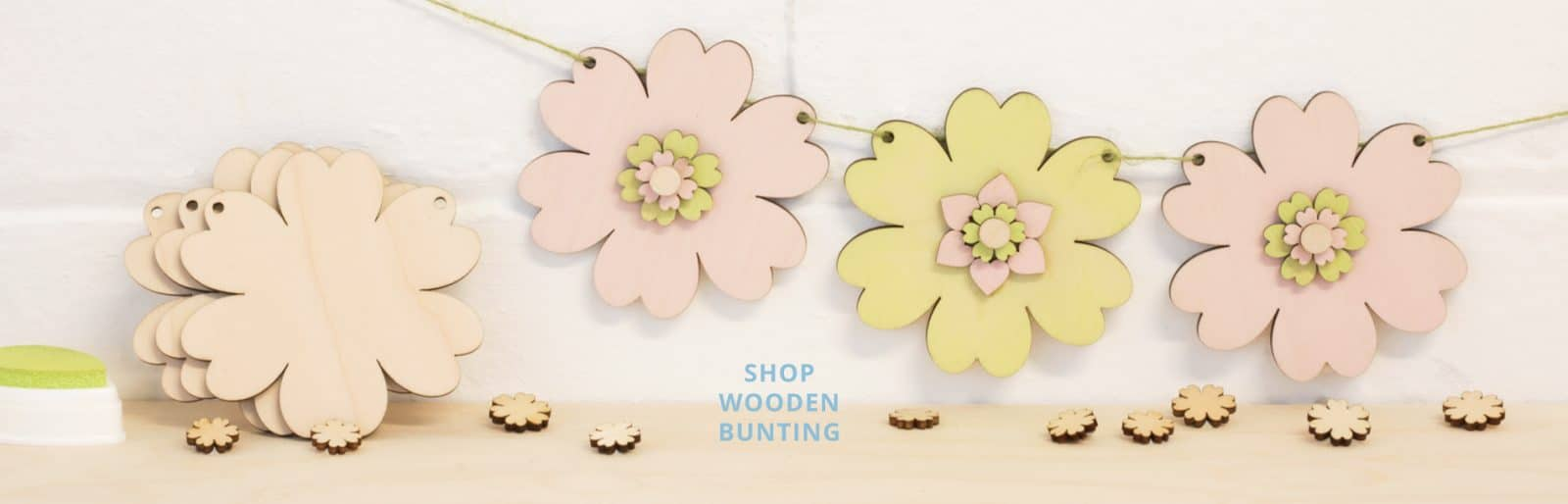 artcuts wooden flower bunting