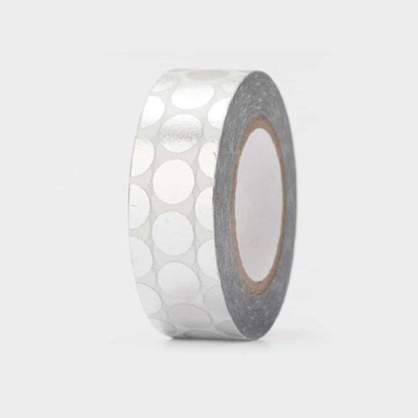 washi tape hot foil silver dots