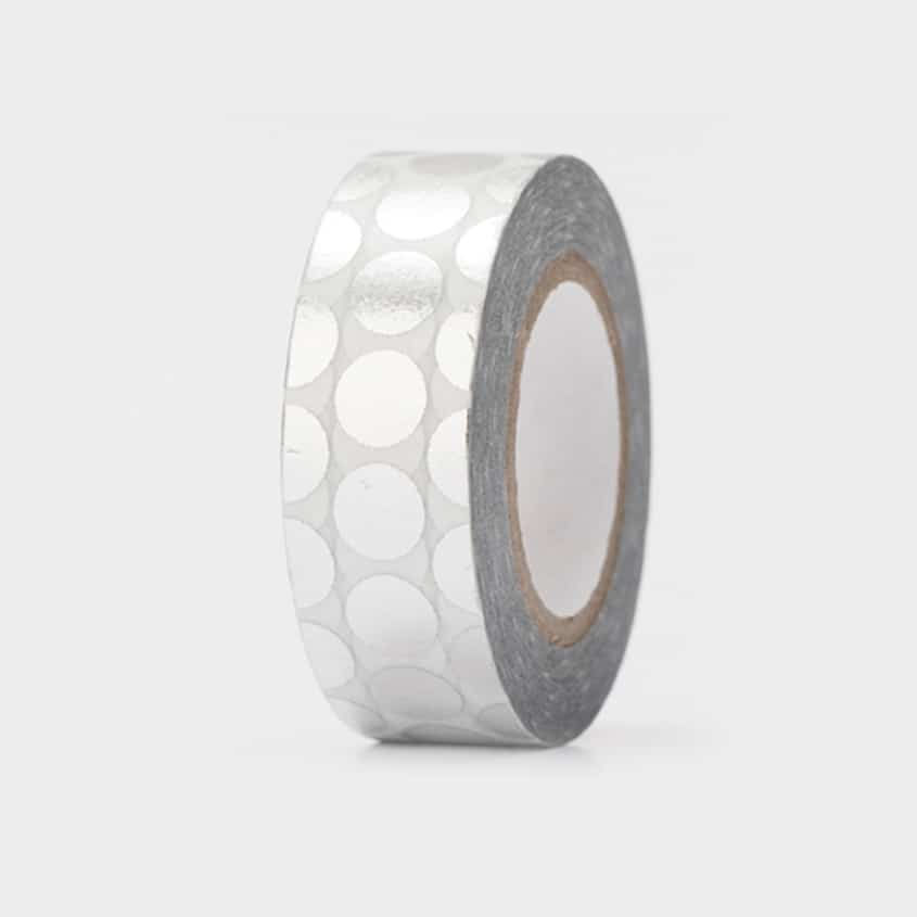 washi tape hot foil silver dots