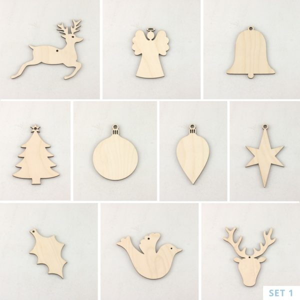 Wooden Christmas Decorations.Wooden Christmas Decorations Set 1