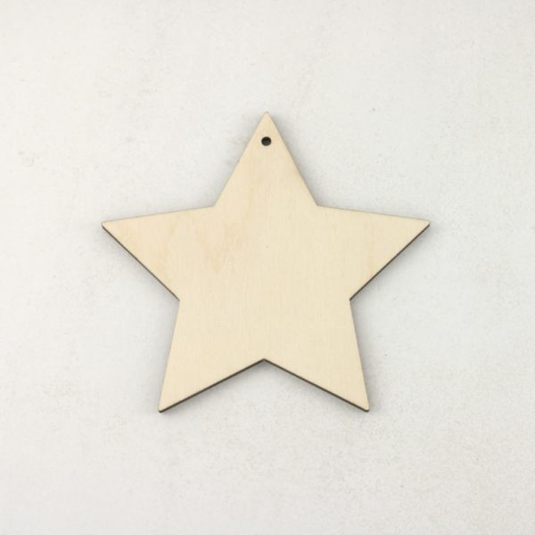 Wooden Christmas craft decorations 5 point star