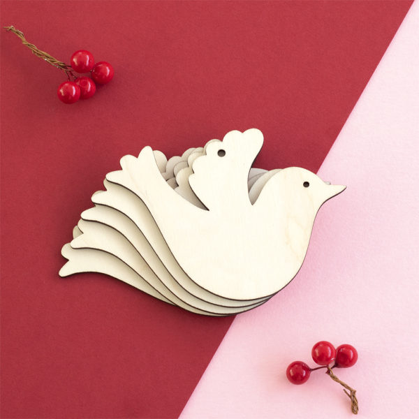 Christmas Wooden Dove Craft Shape