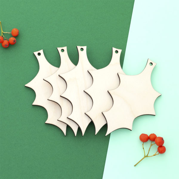 Wooden Craft Holly Shapes