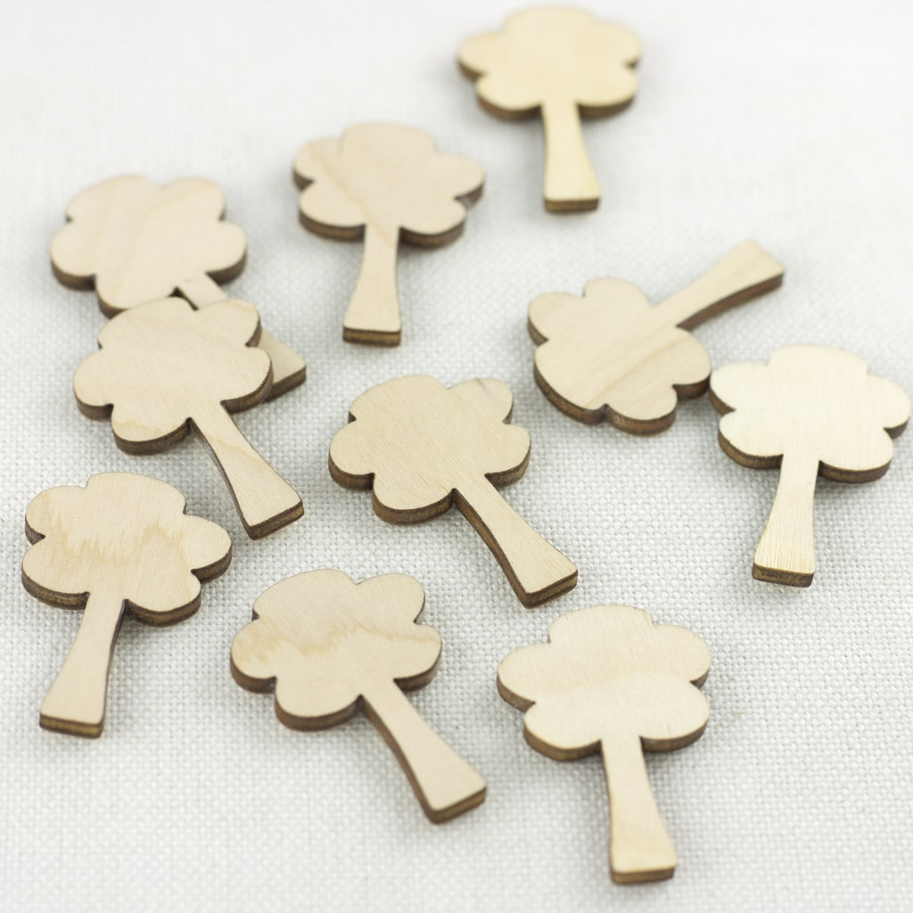 wooden mini tree embellisments