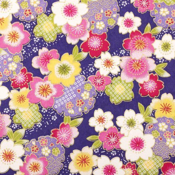Chiyogami Paper Purple Bouquet 922c