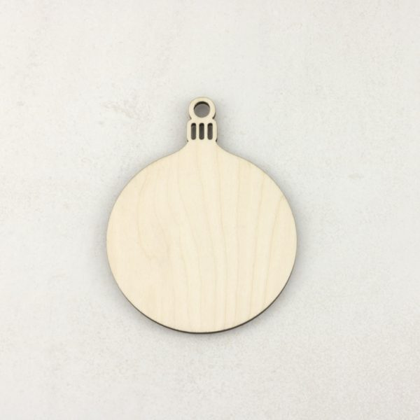 Wooden Christmas craft decorations round bauble