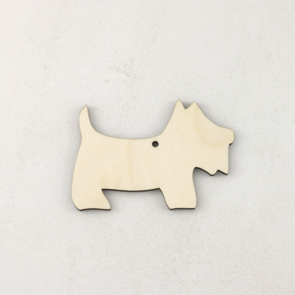 Wooden Christmas craft decorations scottie dog
