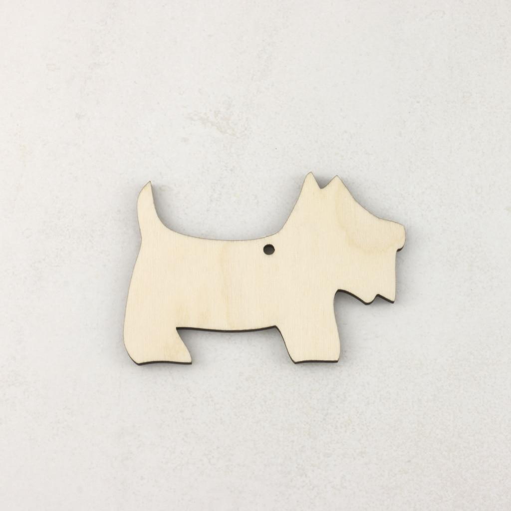 Wooden Christmas craft decorations scottie dog