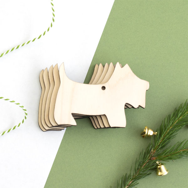 Wooden Scottie Dog Christmas Craft Shape