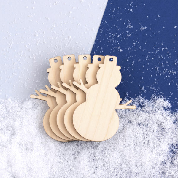 Wooden Snowmen Craft Shapes