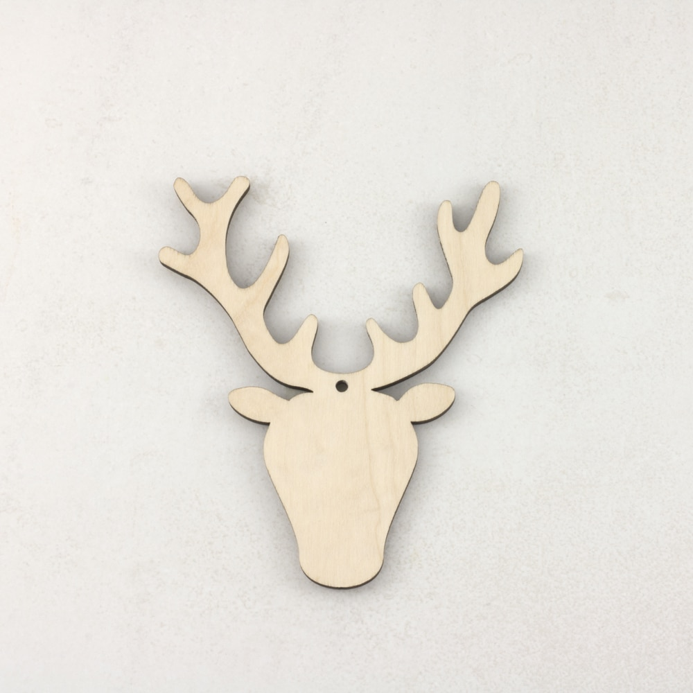 Wooden Christmas craft decorations Stag Head