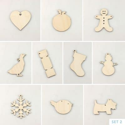 Wooden Christmas Decorations Set 2
