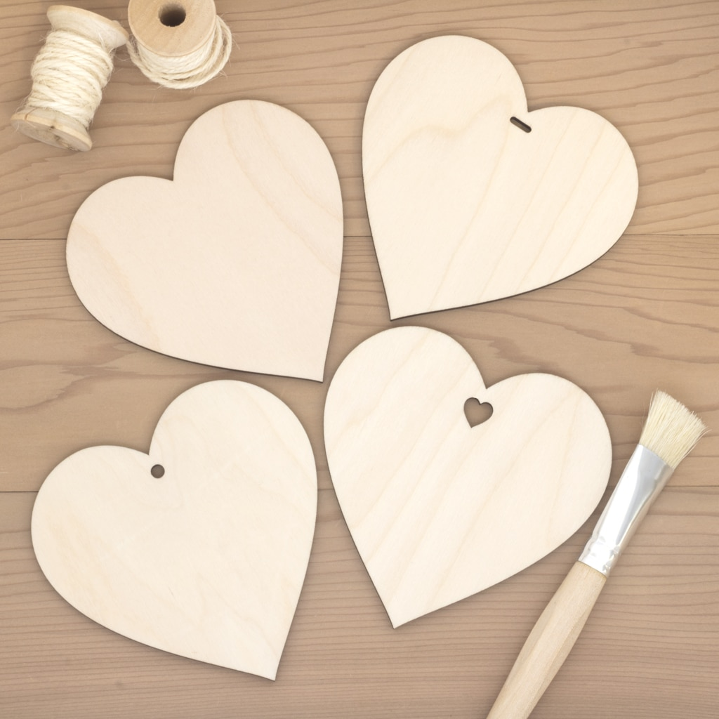 10cm birch wood wooden hearts plain hole heart slot
