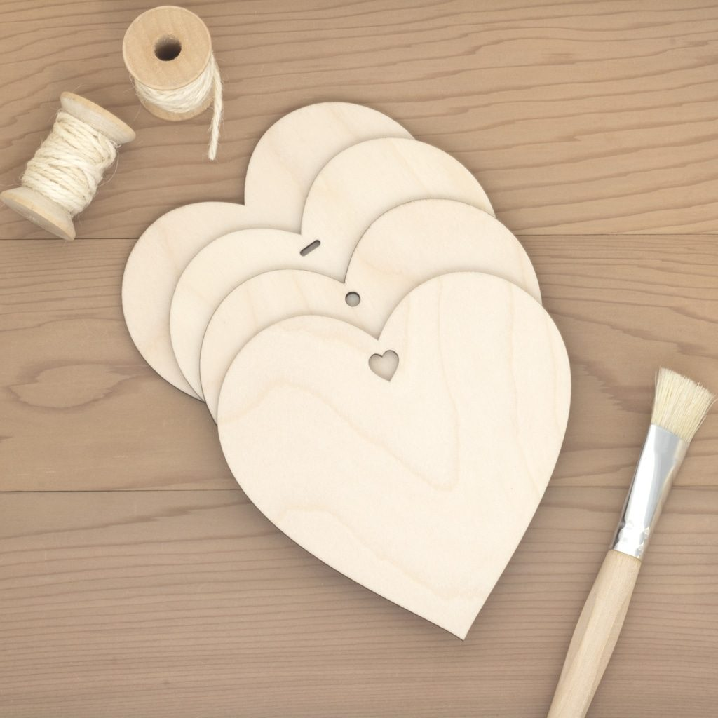 12cm wooden hearts