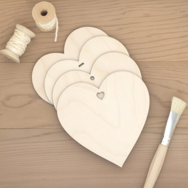 12cm birch wood wooden hearts plain hole heart slot