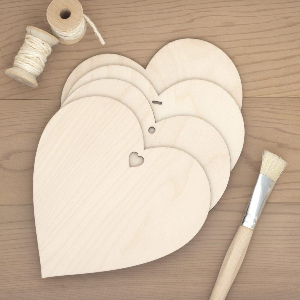 15cm wooden hearts
