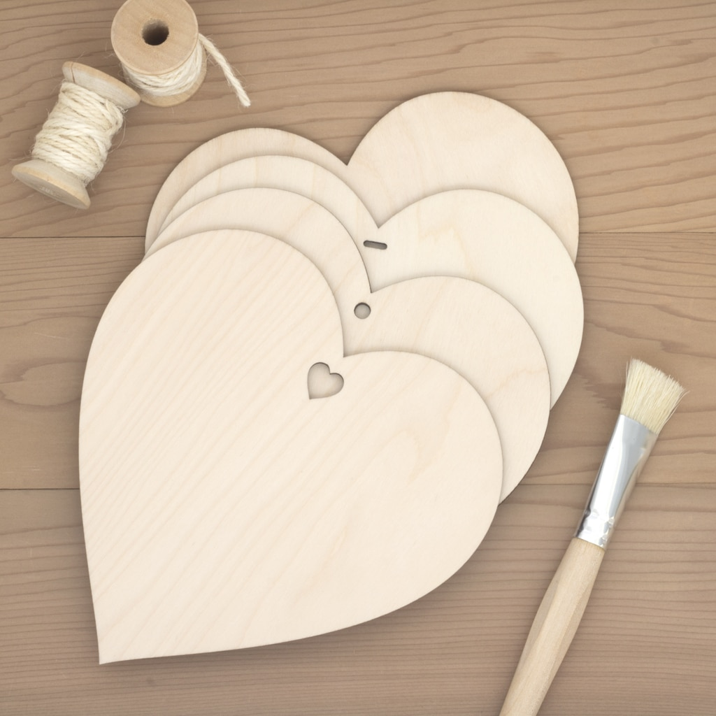 15cm birch wood wooden hearts plain hole heart slot