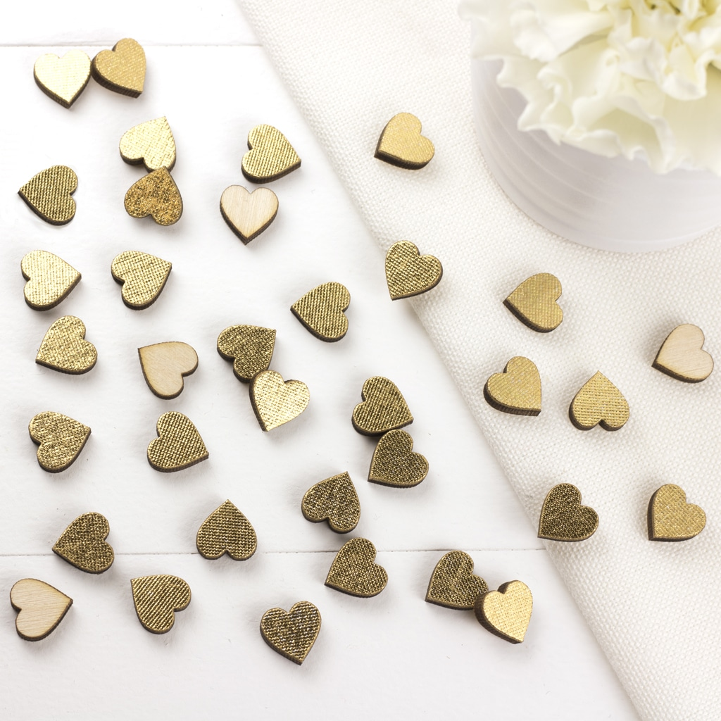 gold scatter hearts 1cm