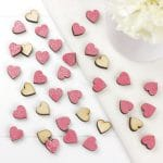 pink dahlia scatter hearts 1cm
