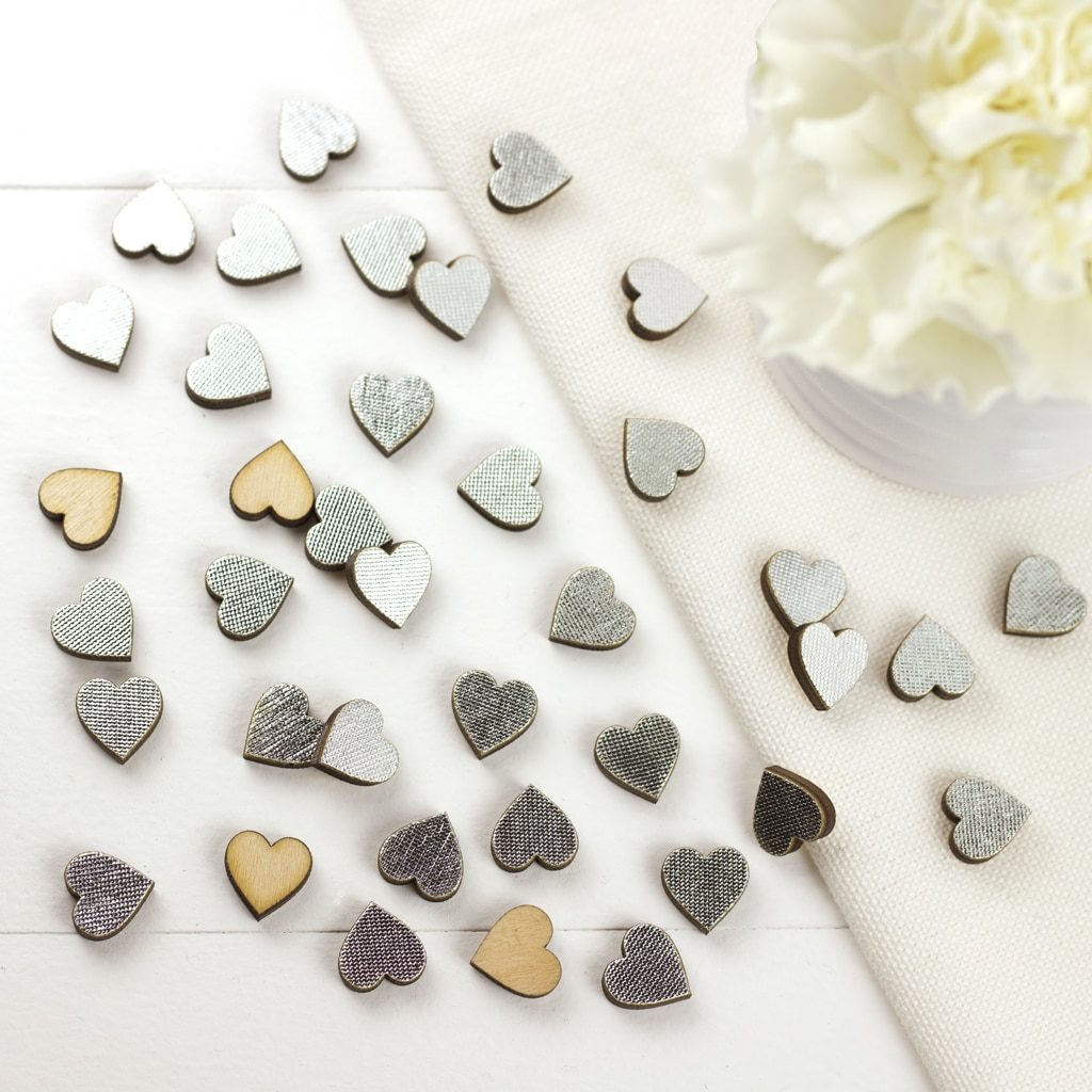 1cm Silver  Scatter Hearts