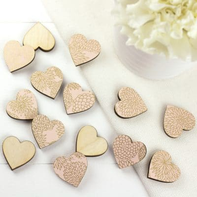 peach dahlia scatter hearts 2cm