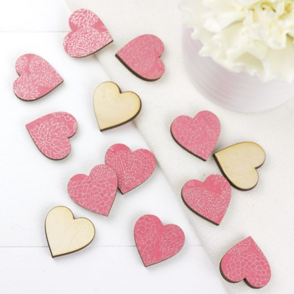 pink dahlia scatter hearts 2cm
