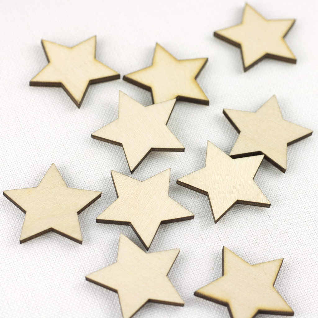 mini wooden 3cm star embellishments