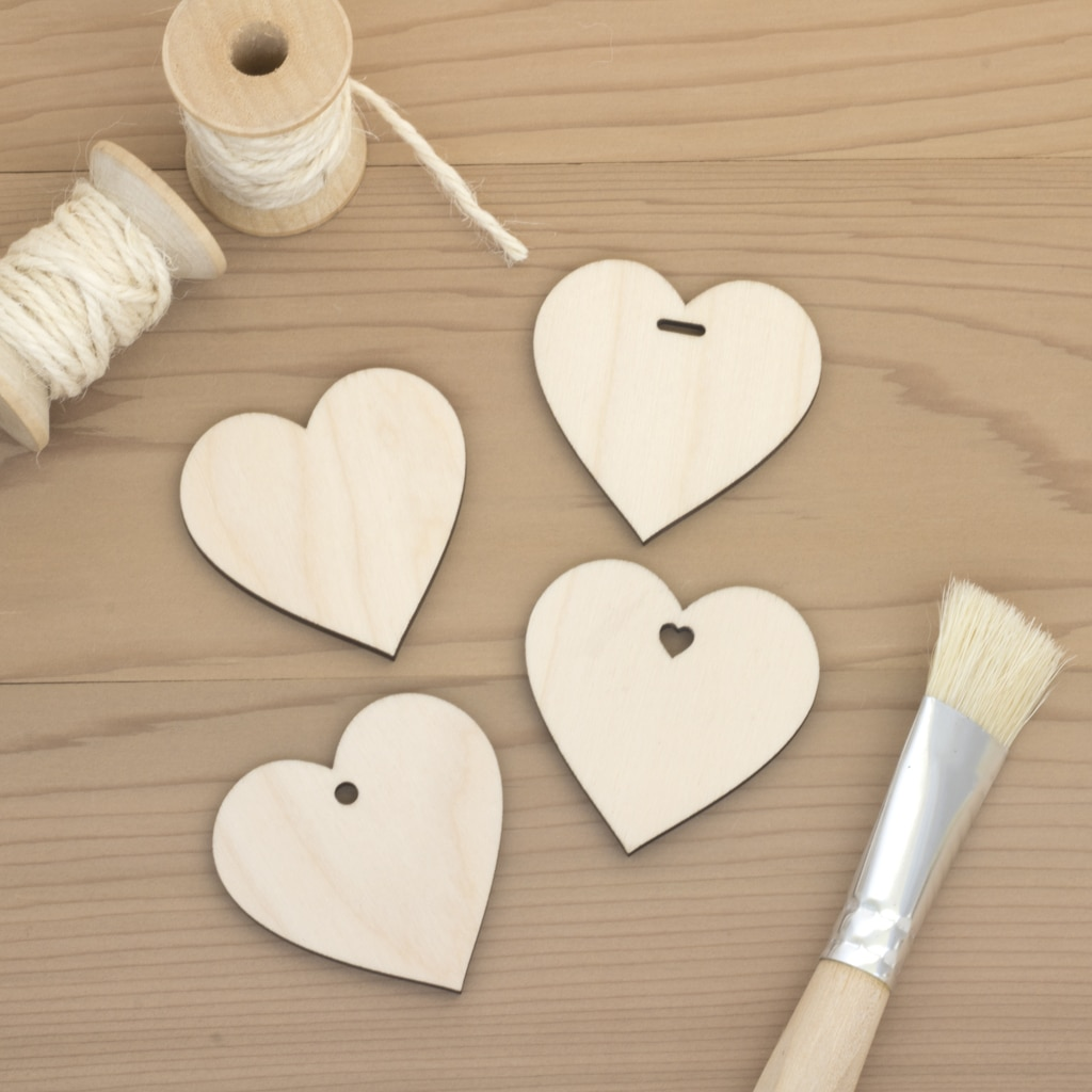 4.7cm birch wood wooden hearts plain hole heart slot
