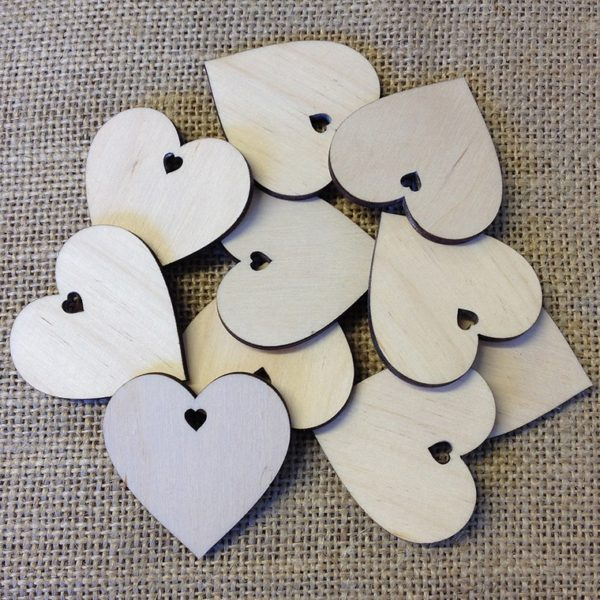 wooden mini heart tags
