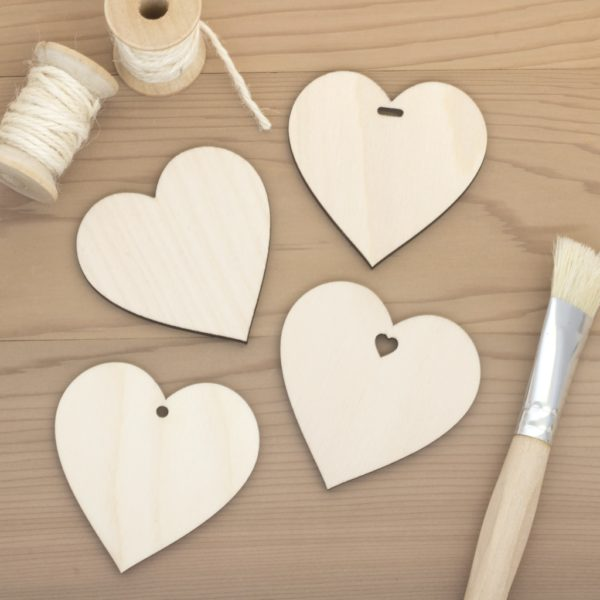6.4cm birch wood wooden hearts plain hole heart slot