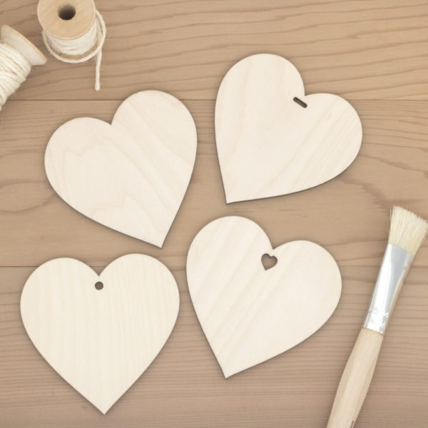 8cm birch wood wooden hearts plain hole heart slot