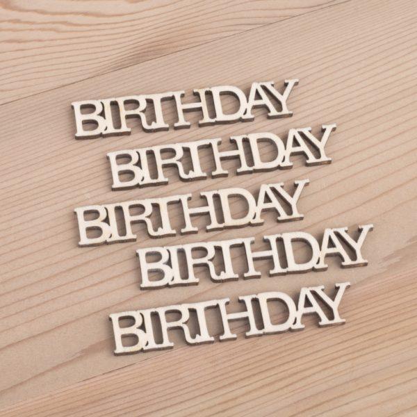 Mini wooden Birthday words craft embellishment