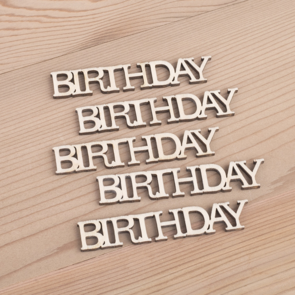 Mini wooden Birthday words craft embellishment