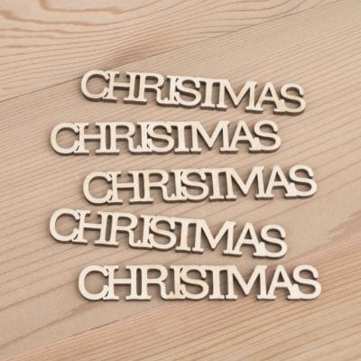 Mini wooden Christmas words craft embellishment