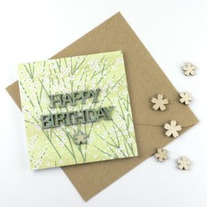 ditsy green mini wooden happy birthday words