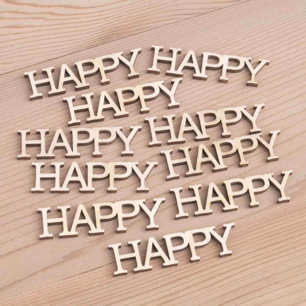 Happy wooden words