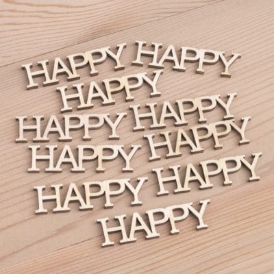 Happy wooden word embellishments for card making