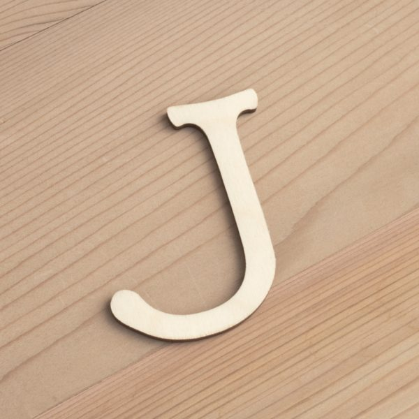 Wooden 6cm letter J