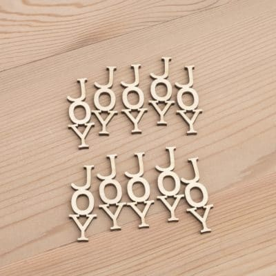 Mini wooden Joy vertical words craft embellishment