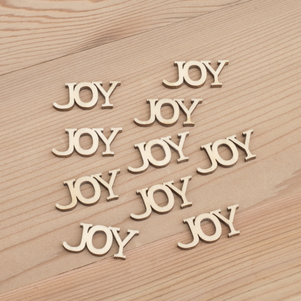 Mini wooden Joy words craft embellishment