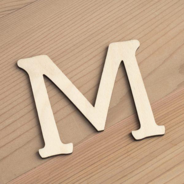 Wooden 6cm letter M