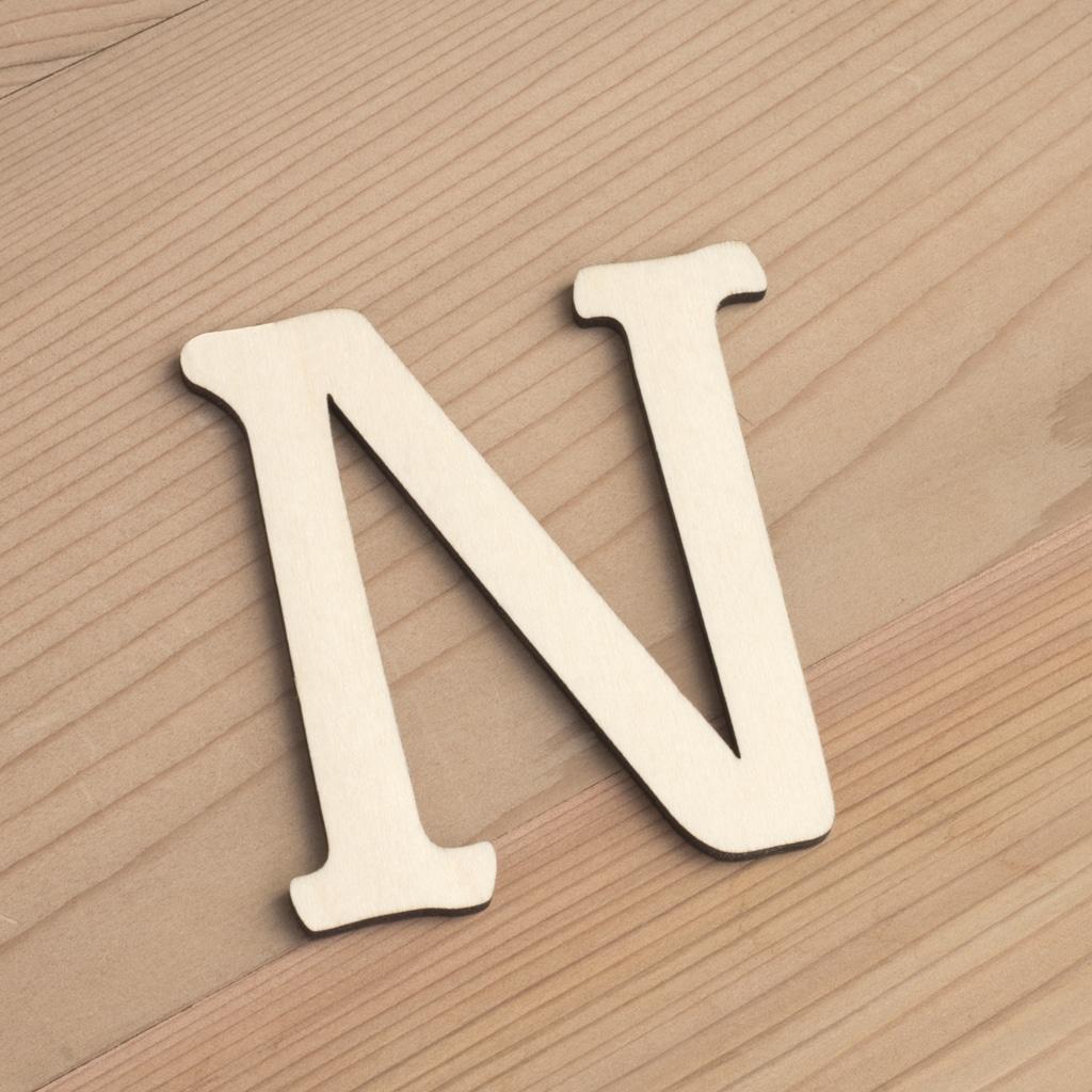 Wooden 6cm letter N