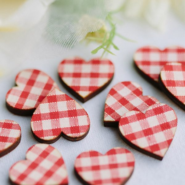 red gingham scatter hearts