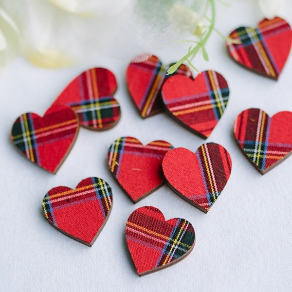 royal mini check tartan scatter hearts 2cm