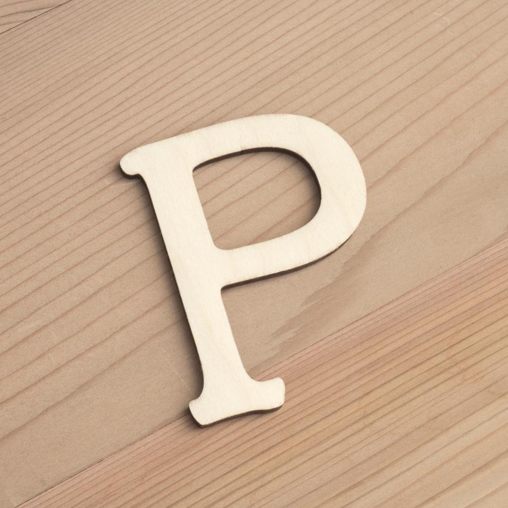 Wooden 6cm letter P