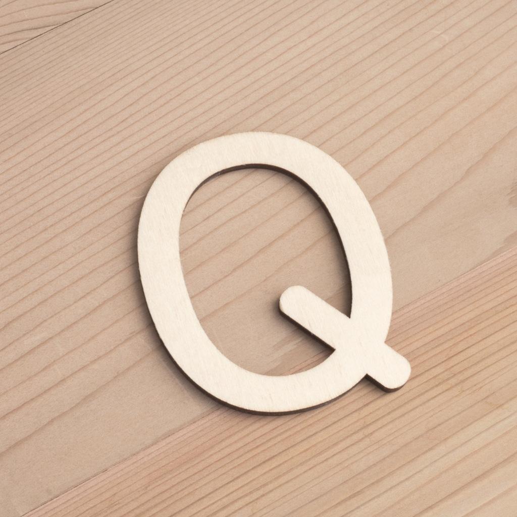 Wooden 6cm letter Q