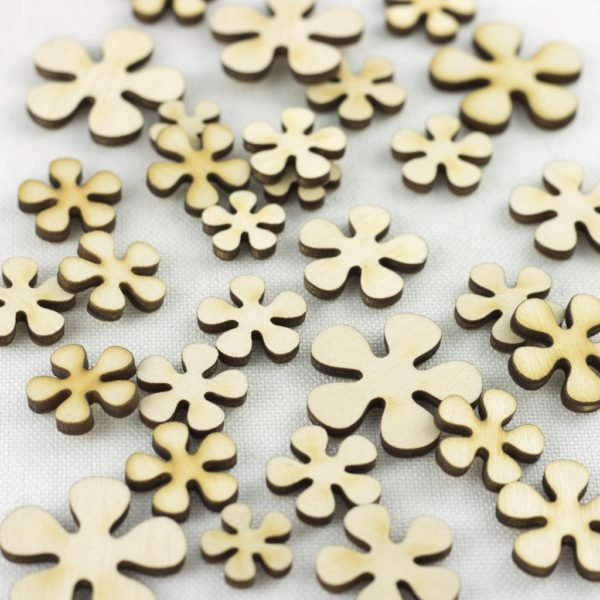 mixed wooden retro flowers