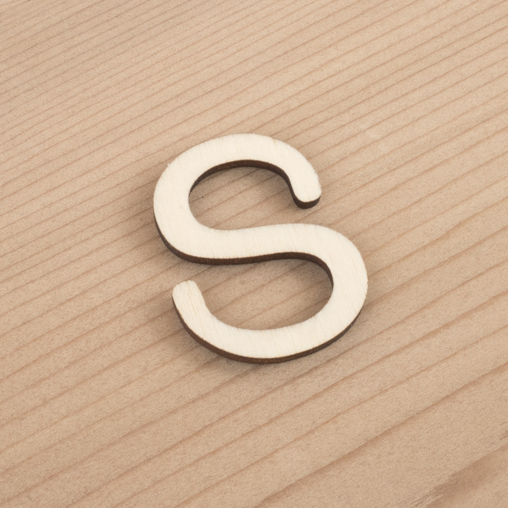 wooden 3cm alphabet letter S